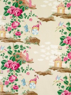 Scalamandre Fabric - China Rose - Pink and Purple on Pale Green 16429-005