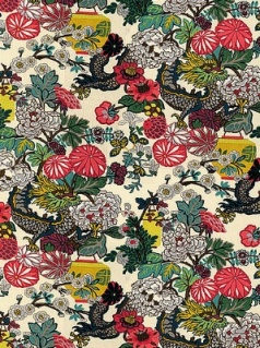 Schumacher Fabric - Chiang Mai Dragon - Alabaster 173273