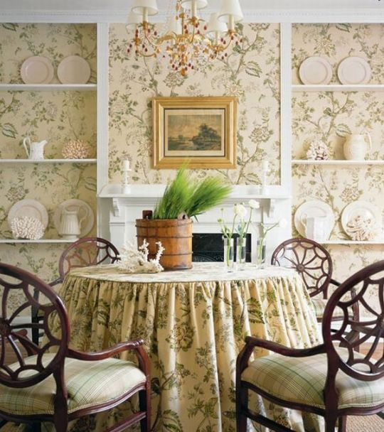 Matching Fabric & Wallpaper English Decor Dining Room