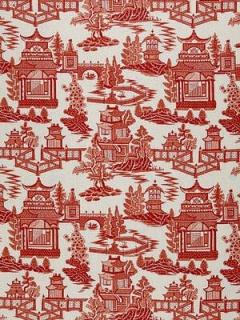 Schumacher Fabric - Nanjing - Coral 174430