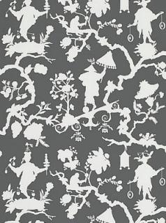 Schumacher Wallpaper - Shantung Silhouette Print - Smoke 5005151