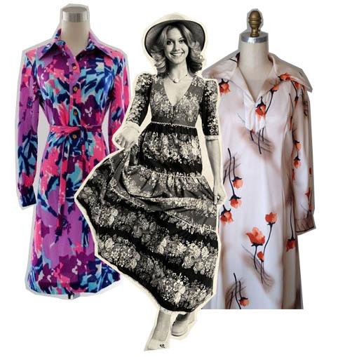 1970s watercolor fashion dresses olivia newton john