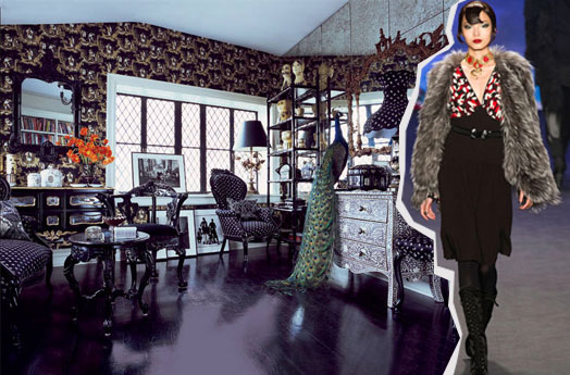 anna sui NYC apartment interior decor designs fashion runway fall nyfw 2014 damsk cole & son