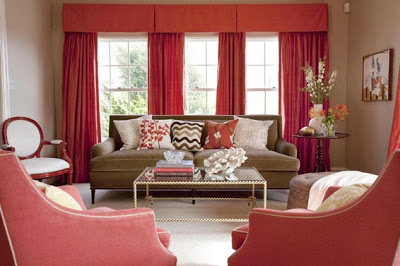 valentine's day decor brown and red living room