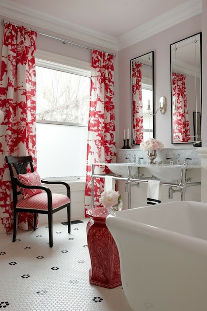 Modern Asian Interior Decor Bathroom Drapery