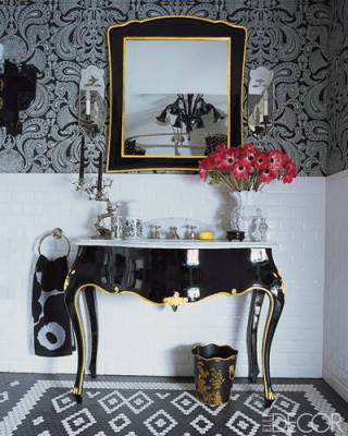 anna sui powder room interior fashion decor design treends damask wallpaper trends