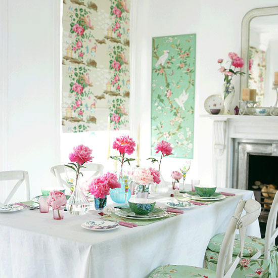 dining room spring 2014 decor floral mint green chinoiserie
