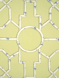 Scalamandre Wallpaper - Baldwin Bamboo - Cream and Blue On Lettuce WP81630-002
