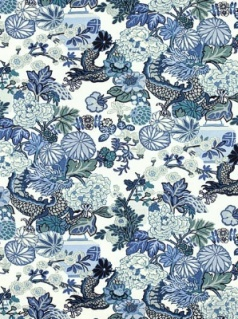 Schumacher Fabric - Chiang Mai Dragon - China Blue 173272