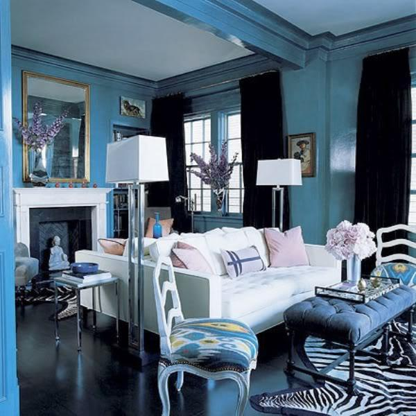 Eclectic Blue White Interior Decor Living Room
