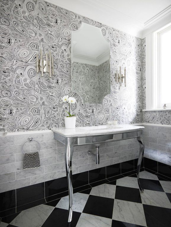 malachite wallpaper interior decor cole & son trompe l'oeil black white bathroom