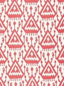 Schumacher Fabric-  Vientiane Ikat Print - Coral 175020