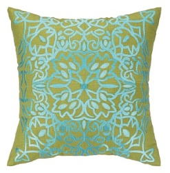 Peking Handicraft - Lace Embroidered Pillows Aqua 24NL31DC20SQ