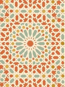 Schumacher Wallpaper - Nasrid Palace Mosaic - Persimmon 5005962