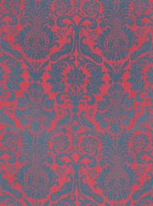 Schumacher Fabric - Anna Damask - Rouge/Prussian Blue 68431