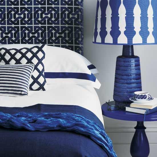 Geometric Blue Bedroom Interior Decor Ideas
