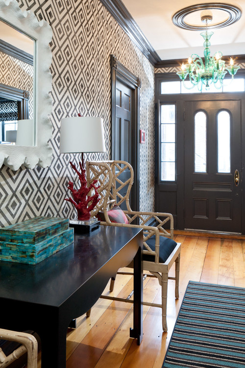 geometric decor foyer eclectic-entry