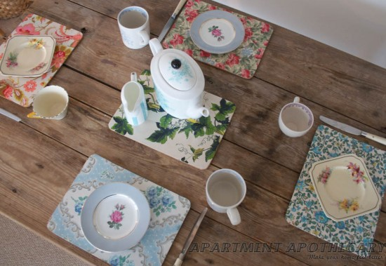 DIY Wallpaper Placemats Dining Room Ideas