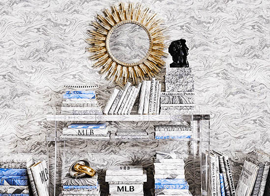 Martyn Lawrence Bullard Marbelized Wallpaper Collection for Schumacher