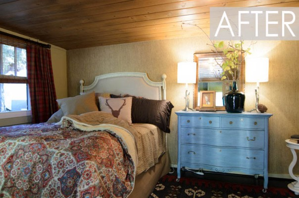 American Dream Builders Team Red Cabin in Woods Makeover Interior Bedroom Decorating Designers NBC Nate Berkus