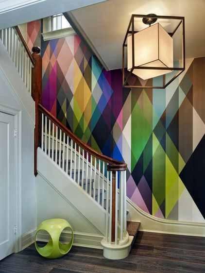 Geometric Wallpaper in Stairway Interior Decor Ideas