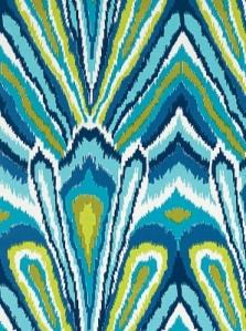 schumacher peacock print pool fabric blue white purple  ikat prints