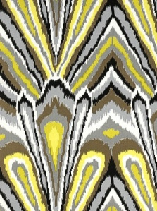Schumacher peacock print pool fabric blue white purple  ikat prints yellow brown