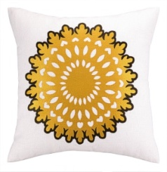 Peking Handicraft Pillow - Wauwinet - Mustard/Brown 24CZ10EC20SQ