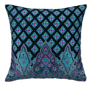 Moroccan embroidered pillow down fill blue purple design print decor velvet pillow