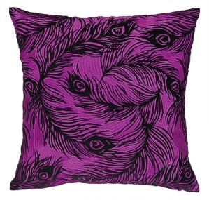 pink purple peacock pillow down fill fuschia velvet contemporary modern home interior decor