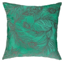 Nanette Lepore Pillow - Peacock Embroidered - Emerald/Grey 24NL07EC20SQ
