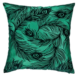 emerald green peacock pillow down fill fuschia velvet contemporary modern home interior decor