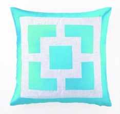 Peking Handicraft Pillow - Palm Springs Block - Turquoise 24TT29BLC20SQ