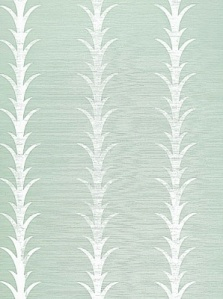 Schumacher Wallpaper - Acanthus Stripe - Seaglass & Chalk 5006053