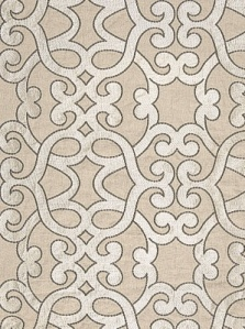 Schumacher Fabric - Amboised Linen Embroidery - Greige 65181