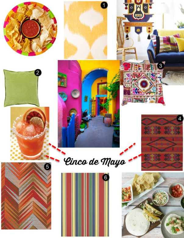 cinco de mayo mexican yellow fabric wallpaper surya pillows bright color 2014 nachos party ideas decorators best