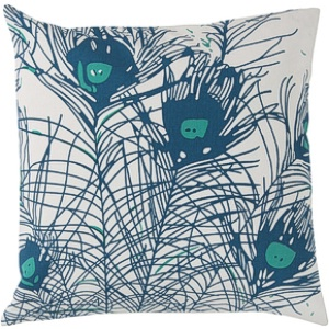 surya pillows fabric modern birds feathers cotton collection peacock feathers