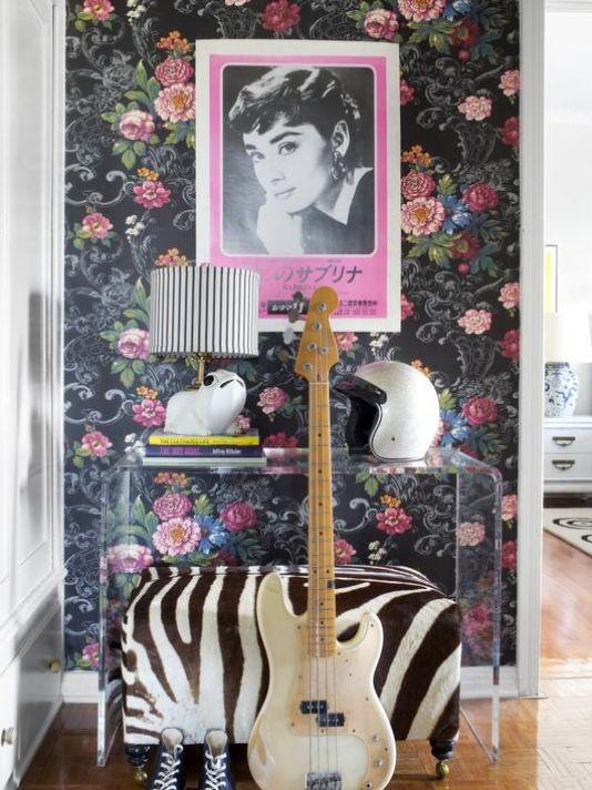 black floral modern wallpaper interior decor