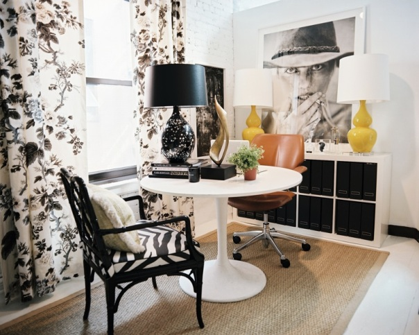 black and white decor floral