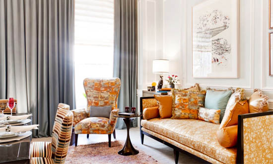 Painterly Metallic Fabric Interior Decor