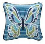 Peking Handicraft Mariposa Blue Needlepoint Pillow Trina Turk 30TT75AC12SQ