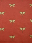 Greenhouse Fabric Dragonfly Embroidered Flame Red A1800