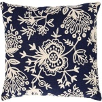 Pine Cone Hill Fresh American Flora Crewel Navy Indoor Outdoor Pillow FCNDP