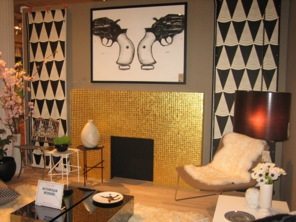 gold mosaic tile fireplace modern black white living room interior decor