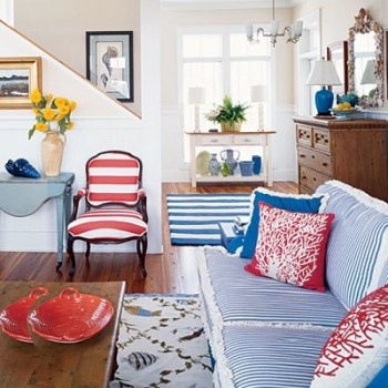 red white blue decor