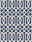Schumacher Wallpaper Imperial Trellis II - Ivory / Navy 5005801