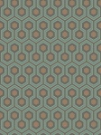 Cole & Son Wallpaper HICKS HEXAGON TEAL/GOLD 95_3018_CS