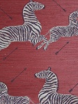 Scalamandre Grasscloth Wallpaper Zebras - Zebras On Red G81388M-002