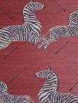 Scalamandre Grasscloth Wallpaper Zebras - Zebras On Red G81388M-002