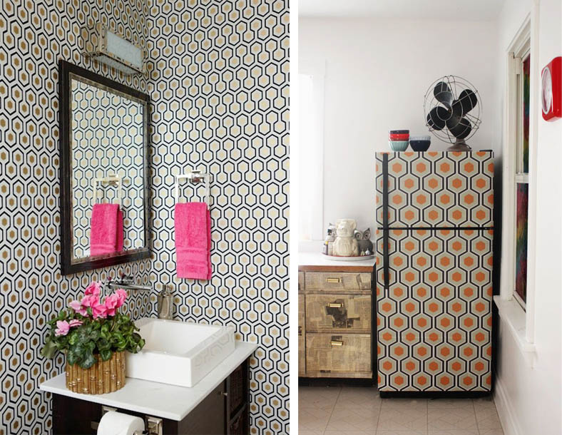 Hicks Hexagon Wallpaper Interior Decor Fridge Bathroom